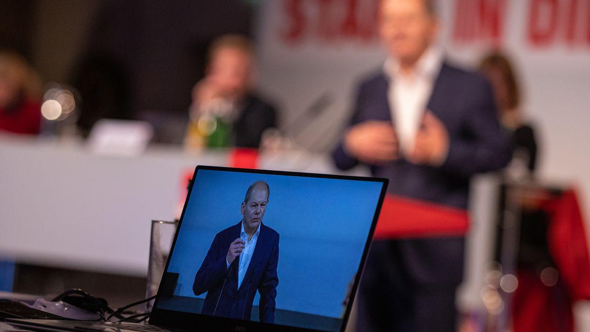 Bundesfinanzminister Olaf Scholz bei einem digitalen Parteitag der SPD (Symbolbild)