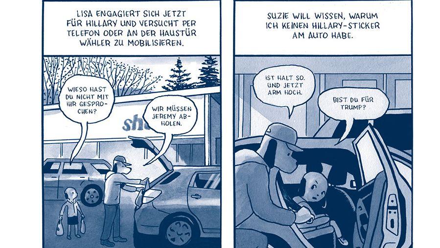 """Mann mit Hundekopf und Kappe räumt das Auto ein und kriegt politische Fragen von seiner Tochter gestellt. Aus der Graphic Novel: """"Ausnahmezustand"""" von James Sturm"""