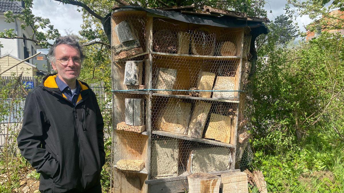 Dr. Stefan Schmidt steht vor einem Insektenhotel auf dem Gelände der Zoologischen Staatsammlung München.