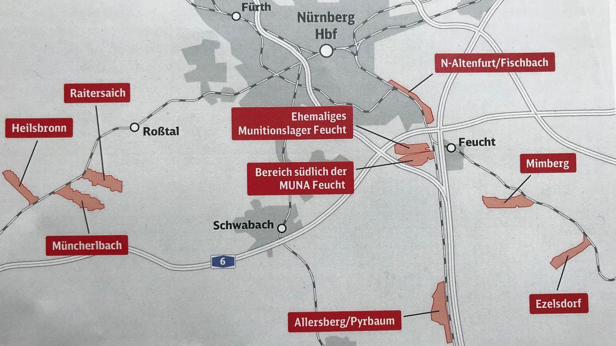 Mögliche Standorte für das ICE-Werk bei Nürnberg