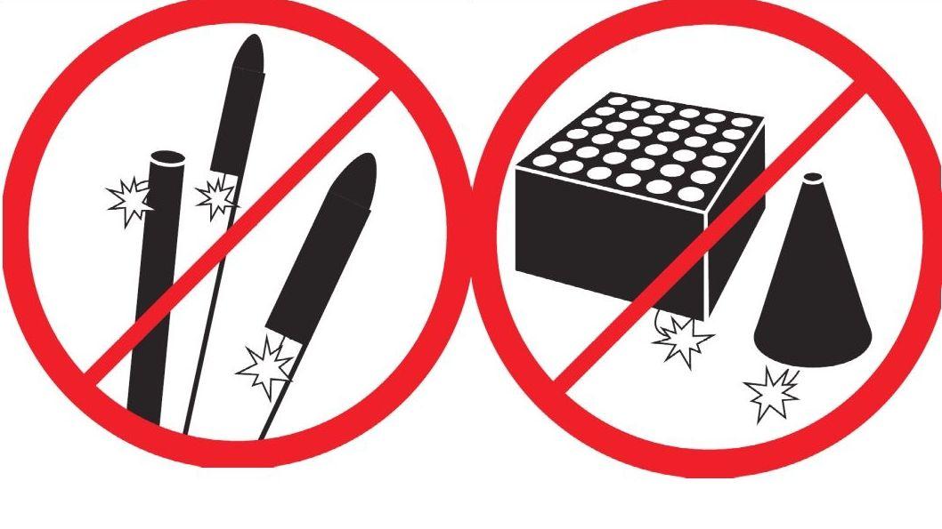 Drei Piktogramme zeigen das Verbot von Feuerwerkskörpern wie Raketen und Böllern