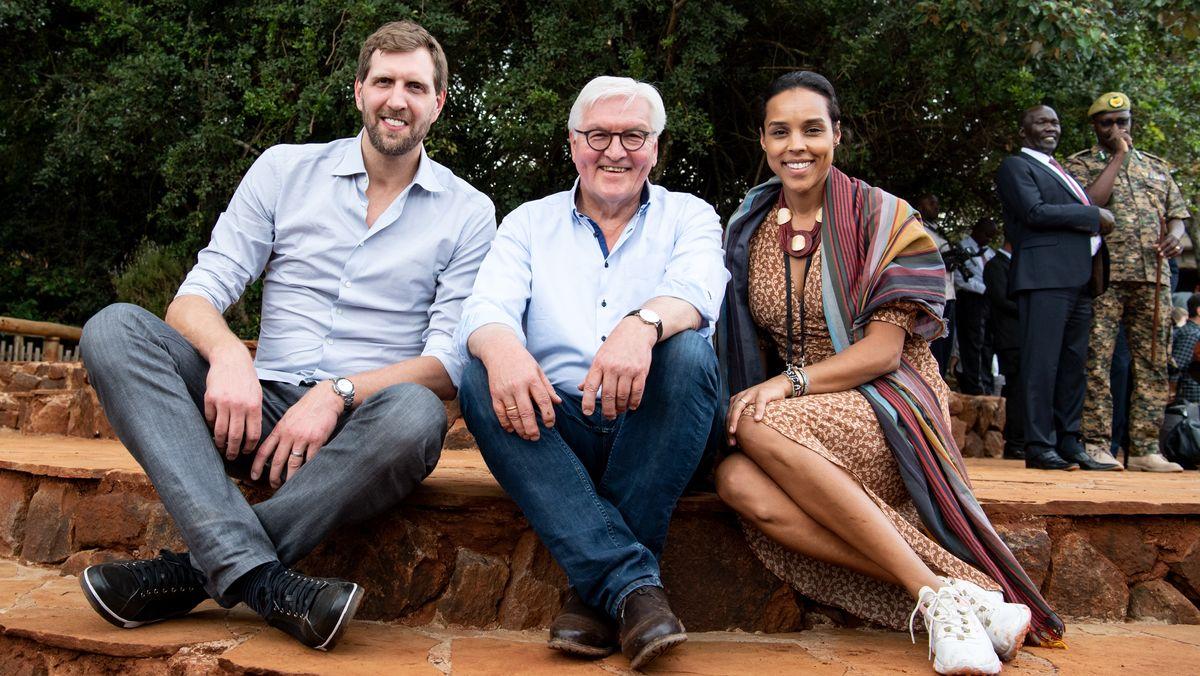 Nowitzki mit Steinmeier in Kenia