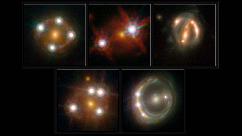 Einzelbilder des Hubble-Teleskops von fünf Quasaren, deren Licht von davor liegenden Galaxien gebrochen, abgelenkt und dabei vervielfacht oder verschmiert wird.