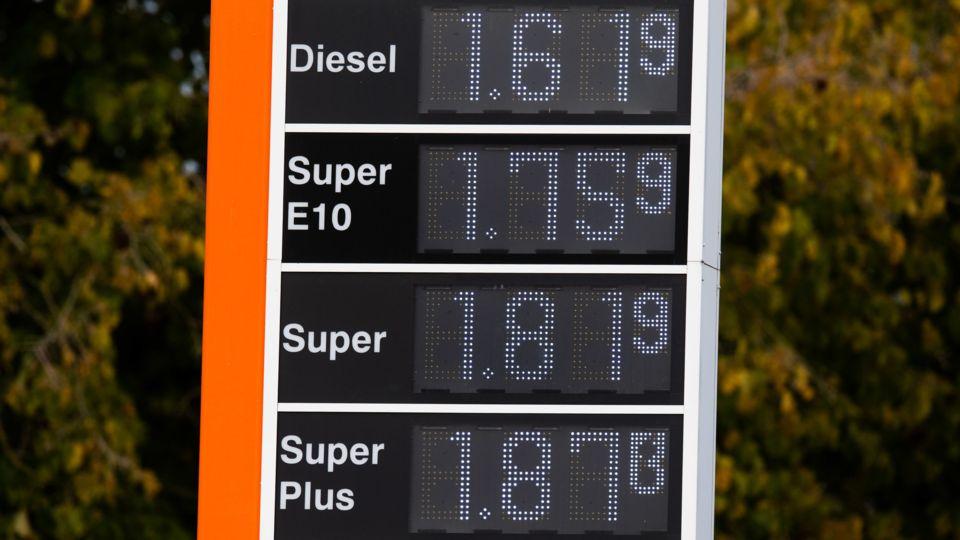 Tankstellentafel mit Benzin- und Dieselpreisen