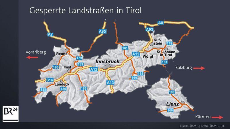 Karte Tirol.Tiroler Straßensperren Hier Ist Seit Heute Dicht Br24