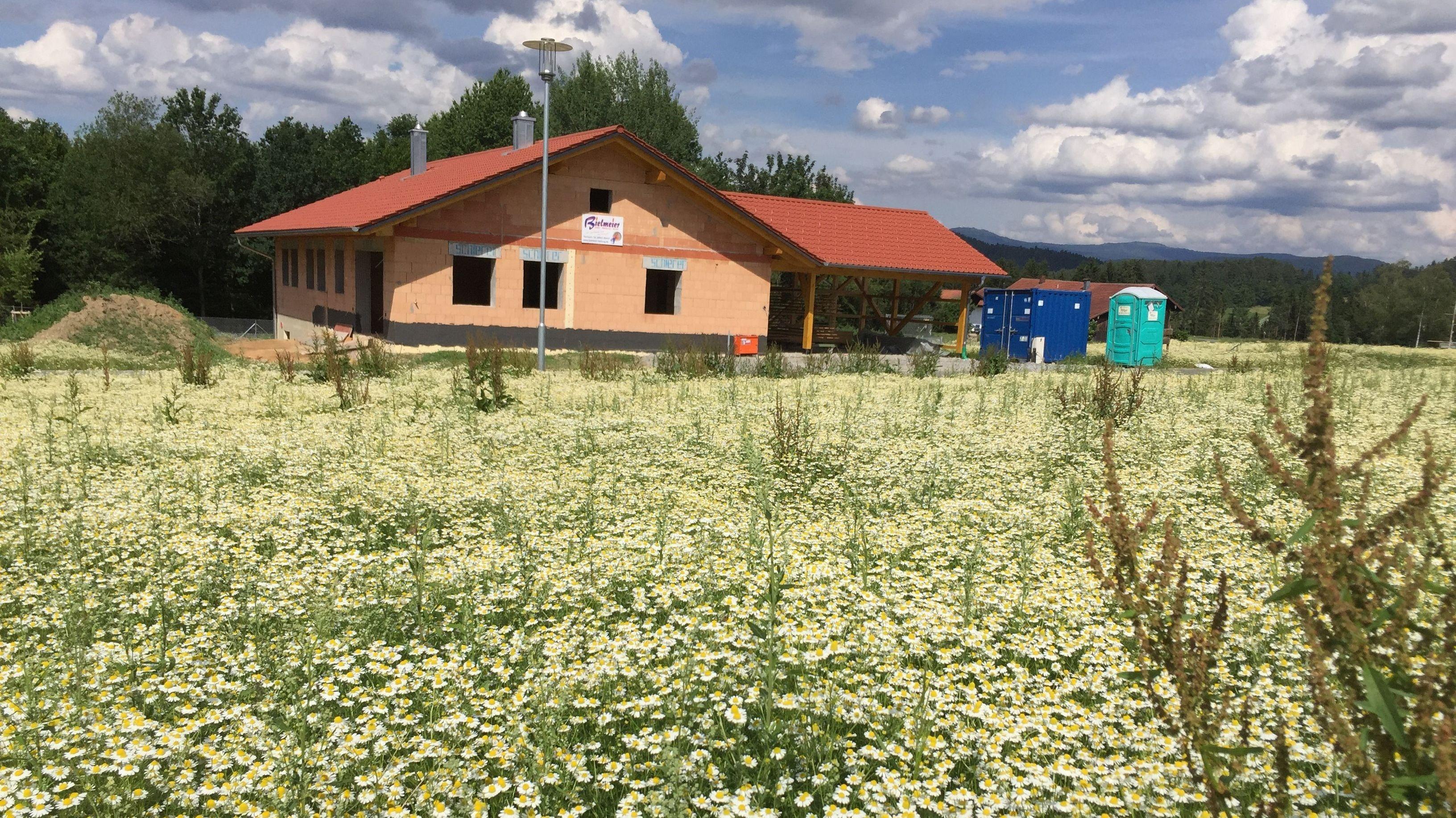Baugebiet Schlatzendorf: Grundstücke mit jeweils einem Einfamilienhaus mit Garten entstehen dort - Eine typische Siedlungsstruktur auf dem Land.