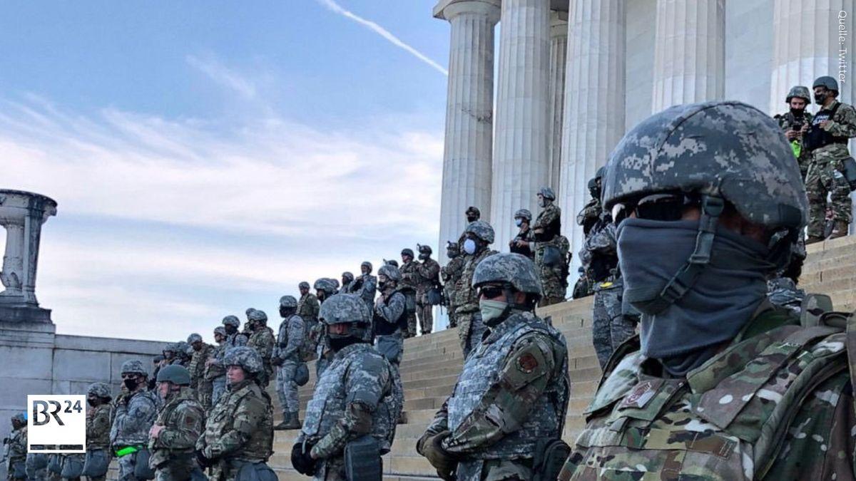 Die Nationalgarde im Juni 2020 vor dem Lincoln Memorial in Washington