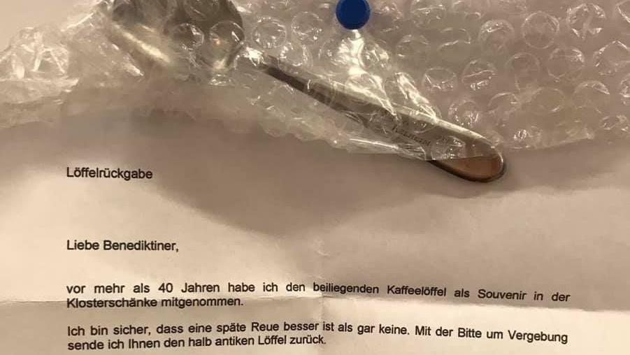 Der Brief und das Diebesgut: So kam das Schreiben bei den Benediktinern von Weltenburg an.