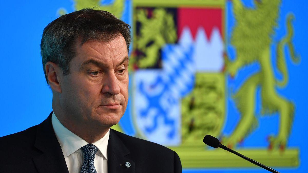 Ministerpräsident Markus Söder (CSU) am 15.10. 2020 bei einer Pressekonferenz.