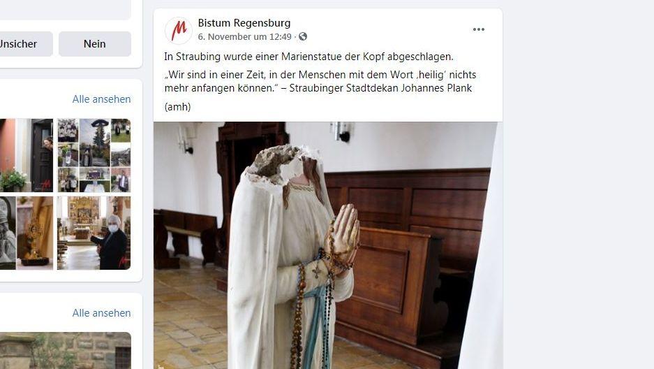 Screenshot der Facebook-Seite des Bistums Regensburg