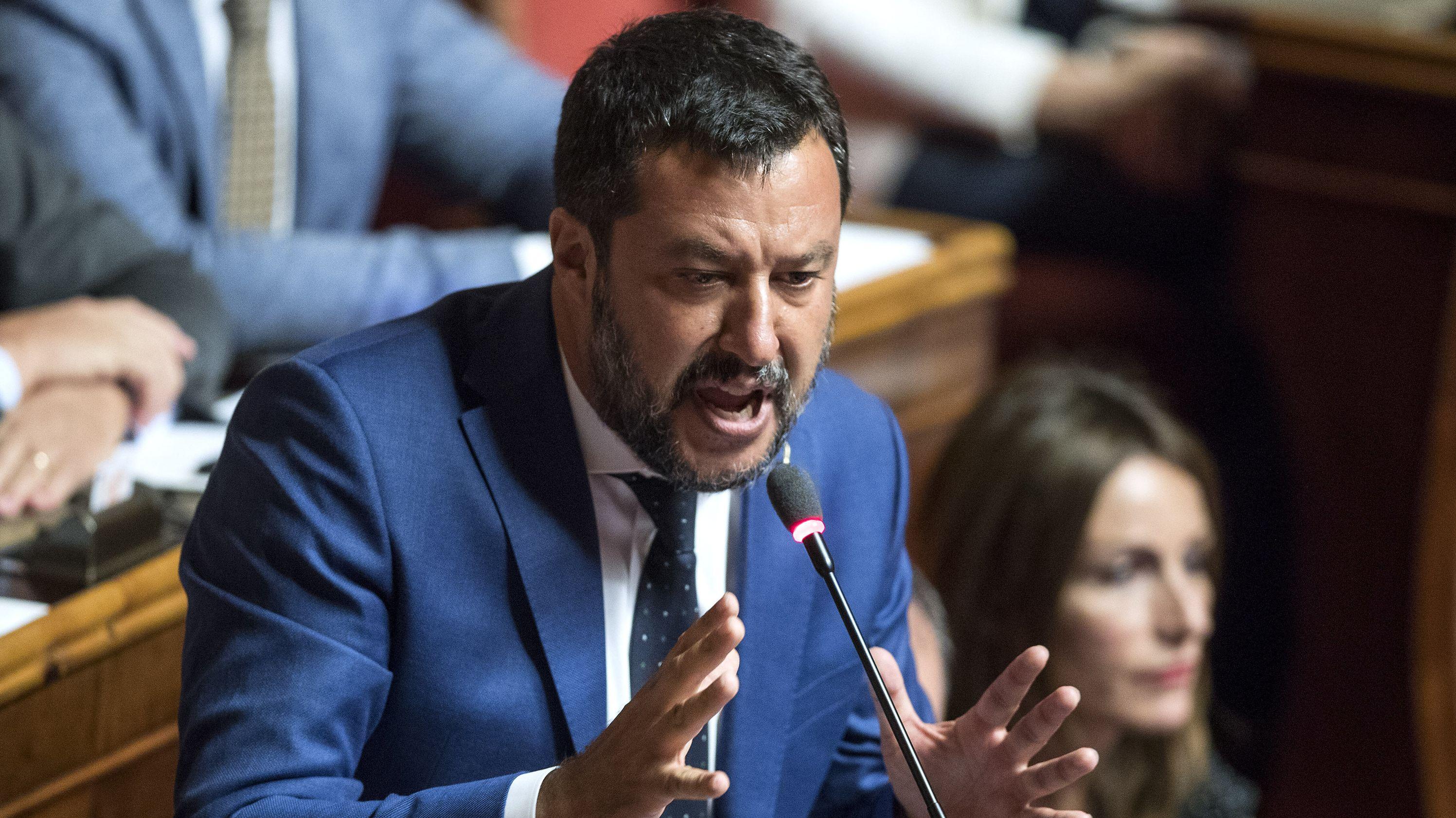 Matteo Salvini, Innenminister von Italien, spricht im Senat.