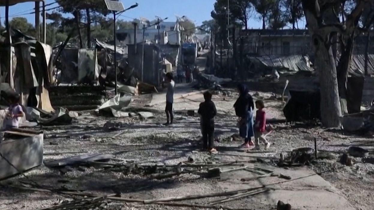 Zerstörtes Flüchtlingslager