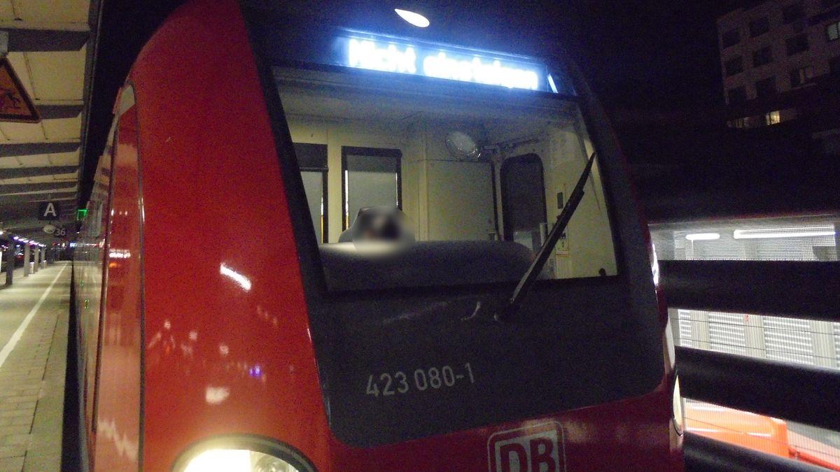 Steinwurf auf Frontscheibe einer S-Bahn