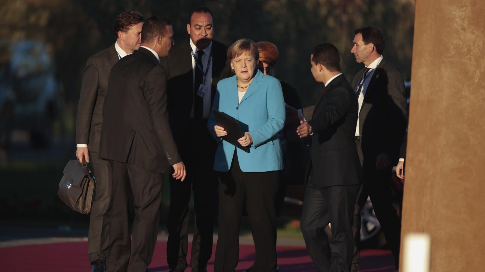 Kanzlerin Angela Merkel vor der Unterzeichnung des UN-Migrationspakts in Marrakesch.
