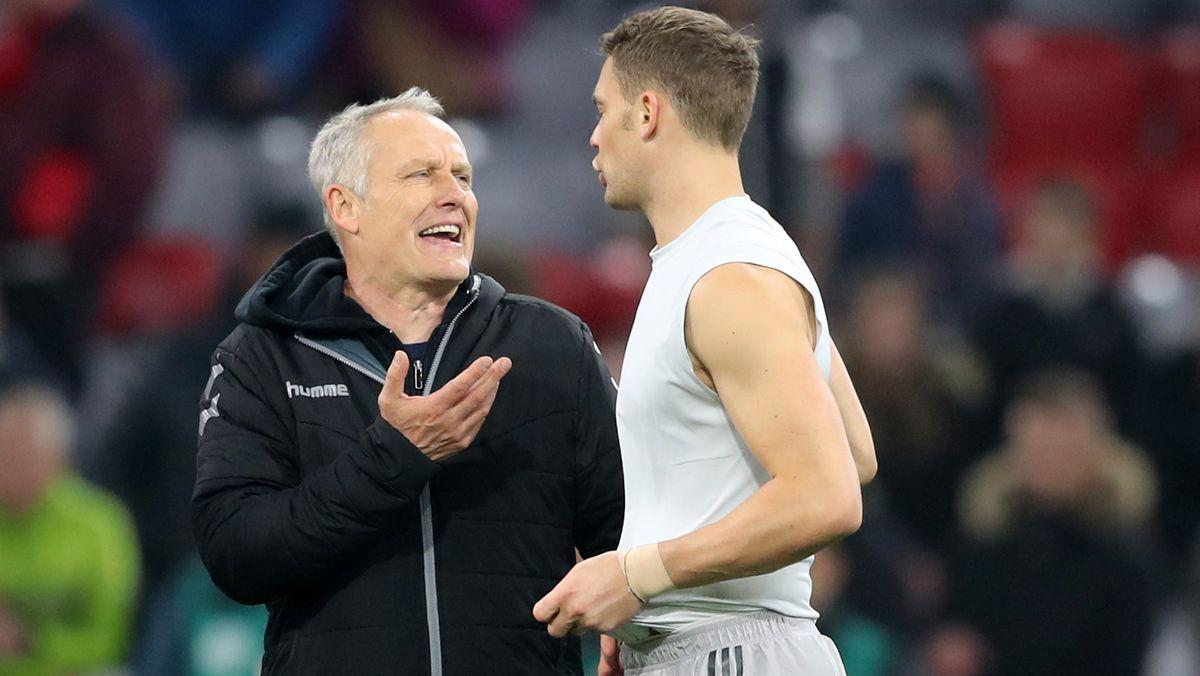 SCF-Trainer Christian Streich (l.) und Torwart Manuel Neuer