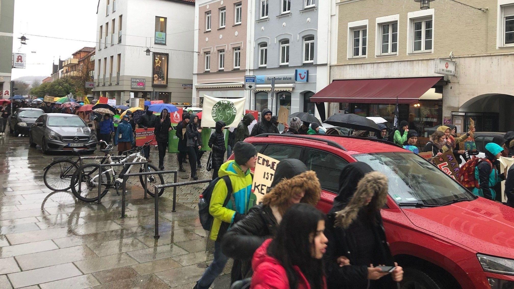 Der Demozug von Fridays for Future in Deggendorf