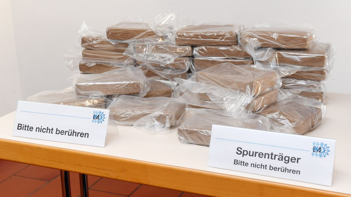 Von der Polizei konfiszierte Kokain-Tüten, aufgenommen im Mai 2017 im Bayerischen Landeskriminalamt.