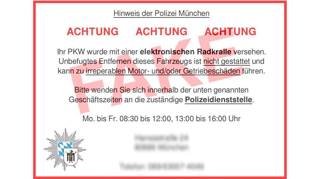 Ausschnitt aus einem Tweet der Polizei München: Bearbeitete Abbildung der Zettel, die vor einer angeblichen elektronischen Parkkralle warnen