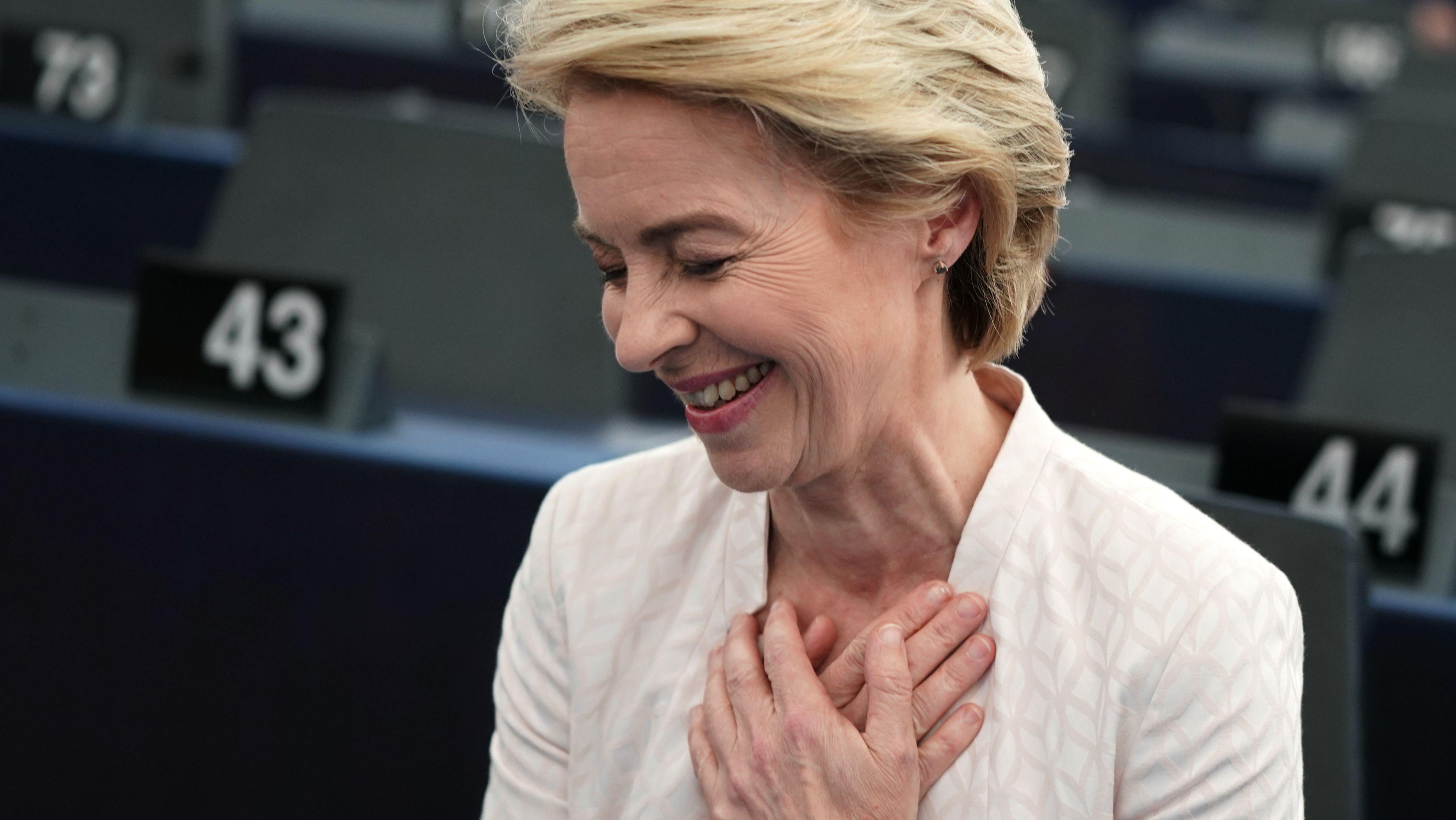 Ursula von der Leyen nach Bekanntgabe des Wahlergebnisses.