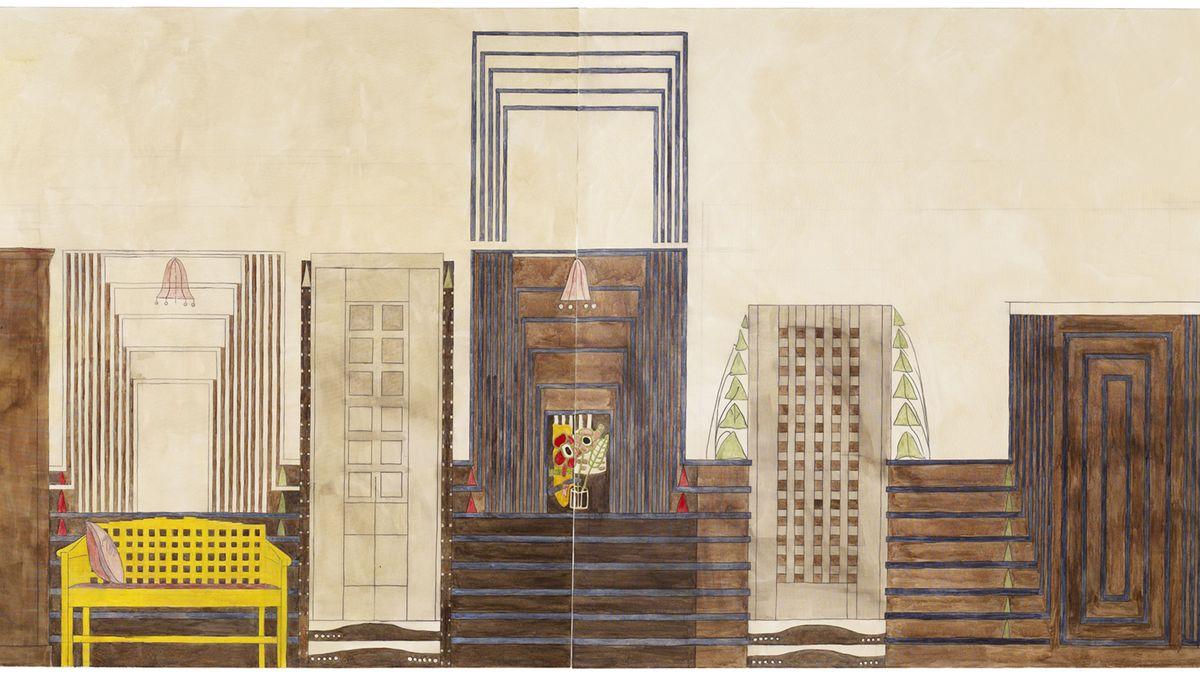 Farbige Architekturzeichnung mit klassischen Mackintosh-Entwürfen: einer Bank, 2 Schränken etc.