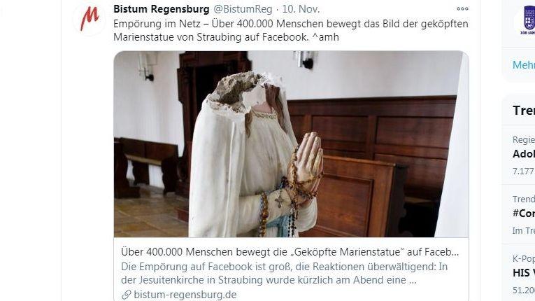 Screenshot der Twitter-Seite des Bistums Regensburg