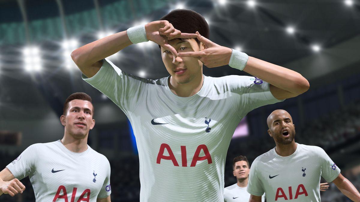 Ein animierter Fußballspieler im weißen Trikot bejubelt ein Tor
