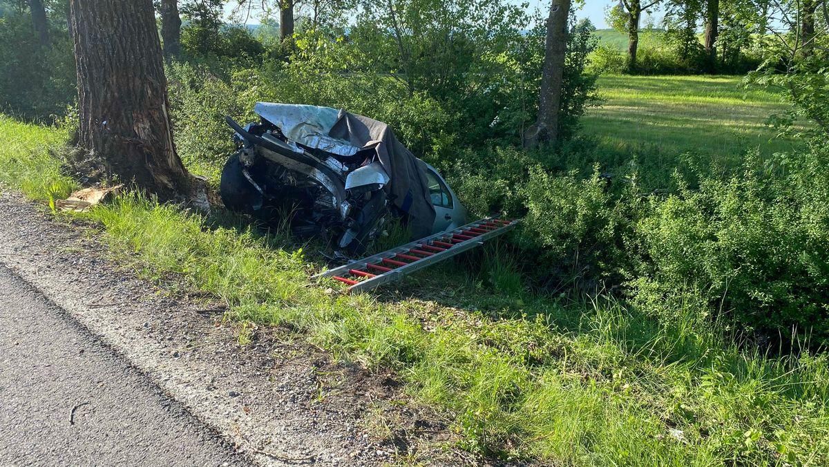 Unfallfahrzeug neben Baum.