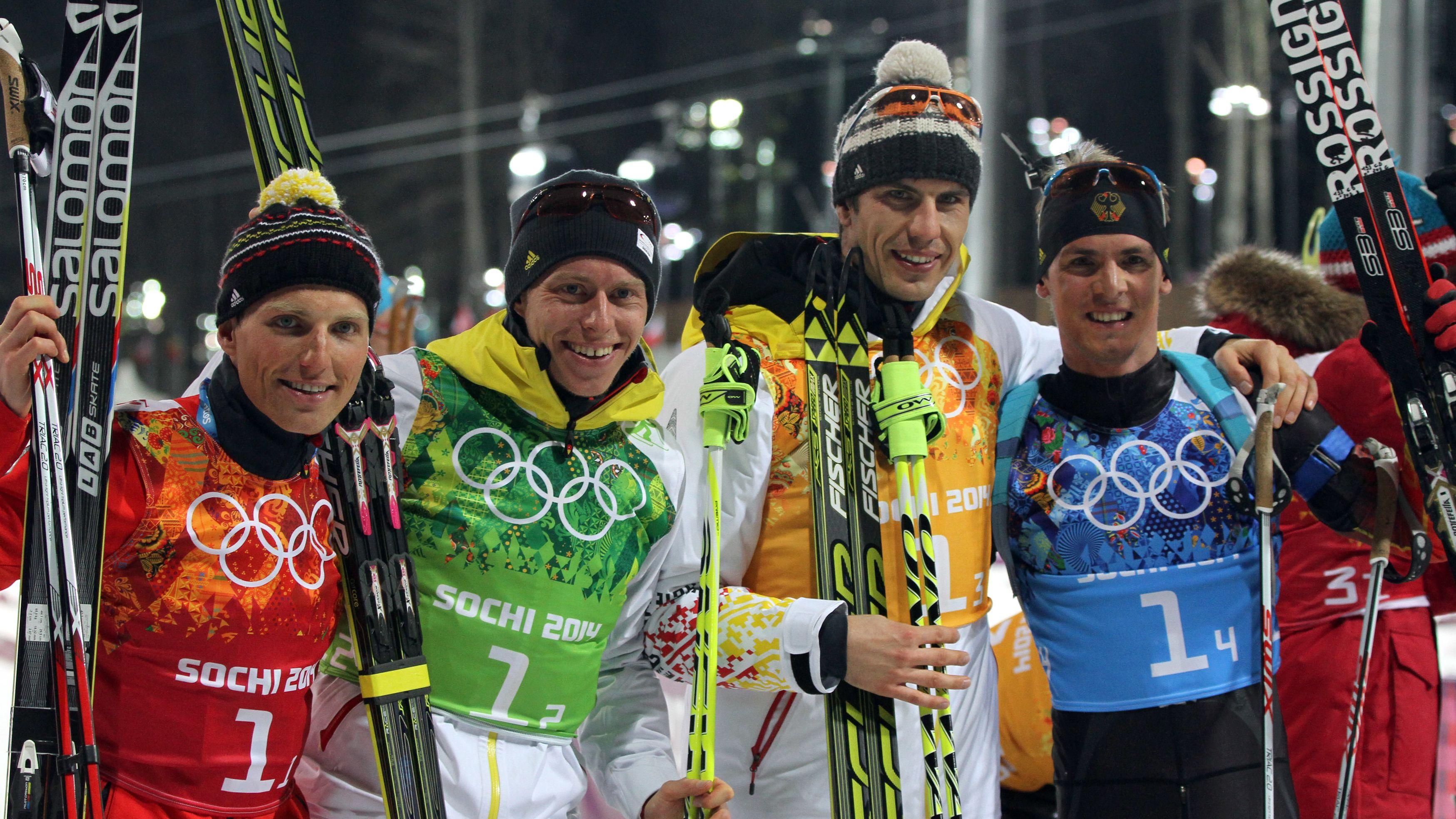 DSV-Staffel bei den Olympischen Spielen 2014 in Sotschi: Erik Lesser, Daniel Böhm, Arnd Peiffer und Simon Schempp.