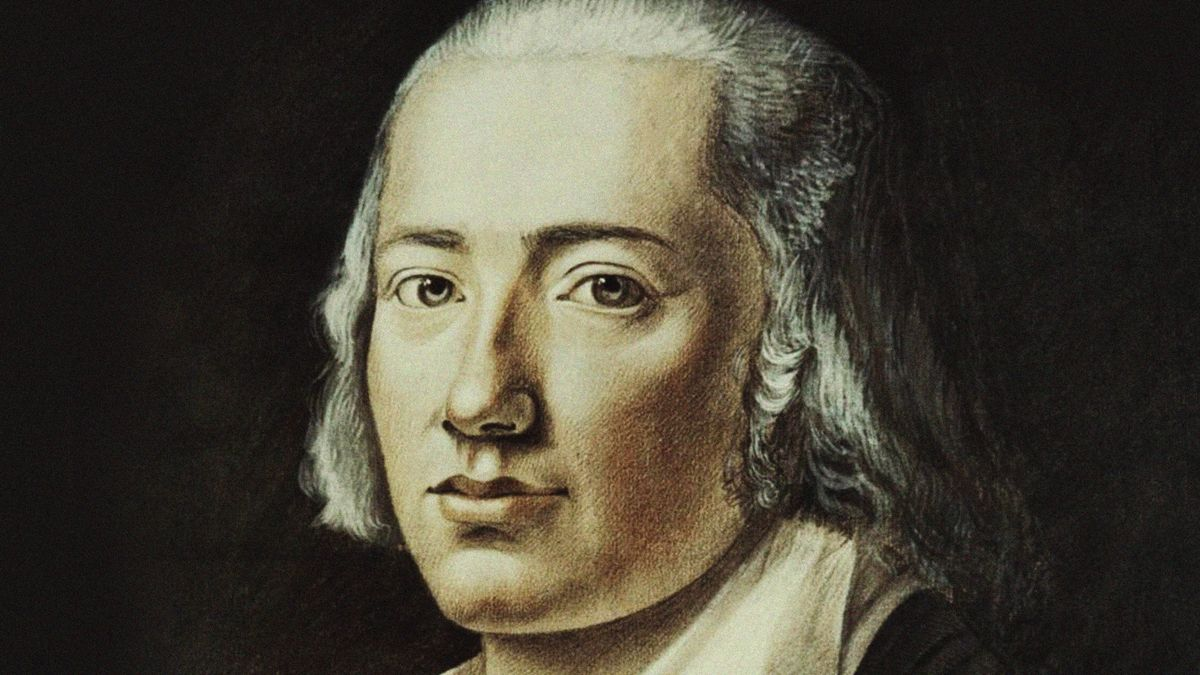 Zeichnung eines Mannes mit altertümlicher Frisur