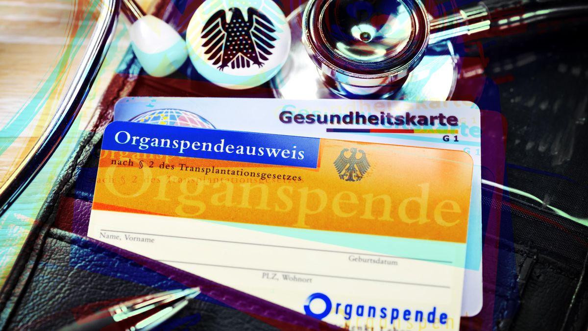 Organspendeausweis, Gesundheitskarte, Geldbeutel, Stethoskop und Bundesadler (Symbolbild)