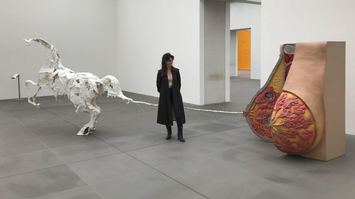 Eine Frau steht in einem weißen Museumsraum und betrachtet ein Ausstellungsobjekt