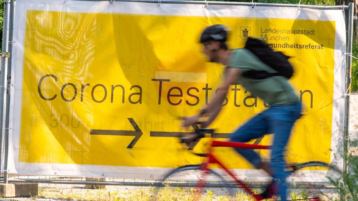 Hinweis auf Corona-Teststation in München