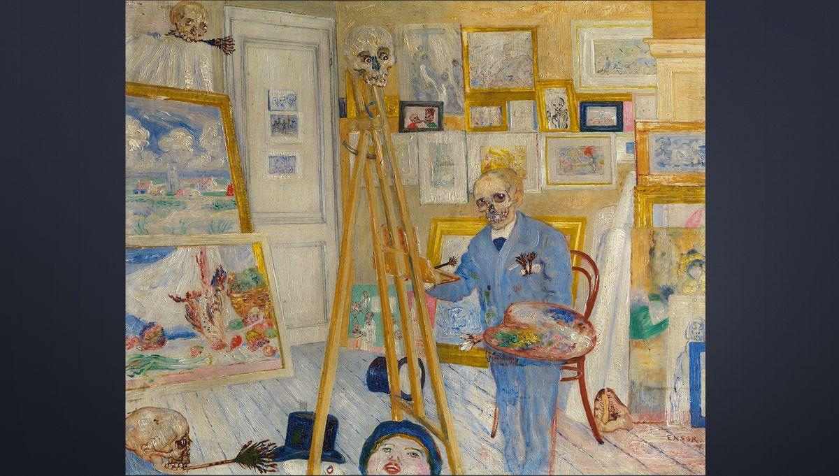 James Ensor, Das malende Skelett, 1896