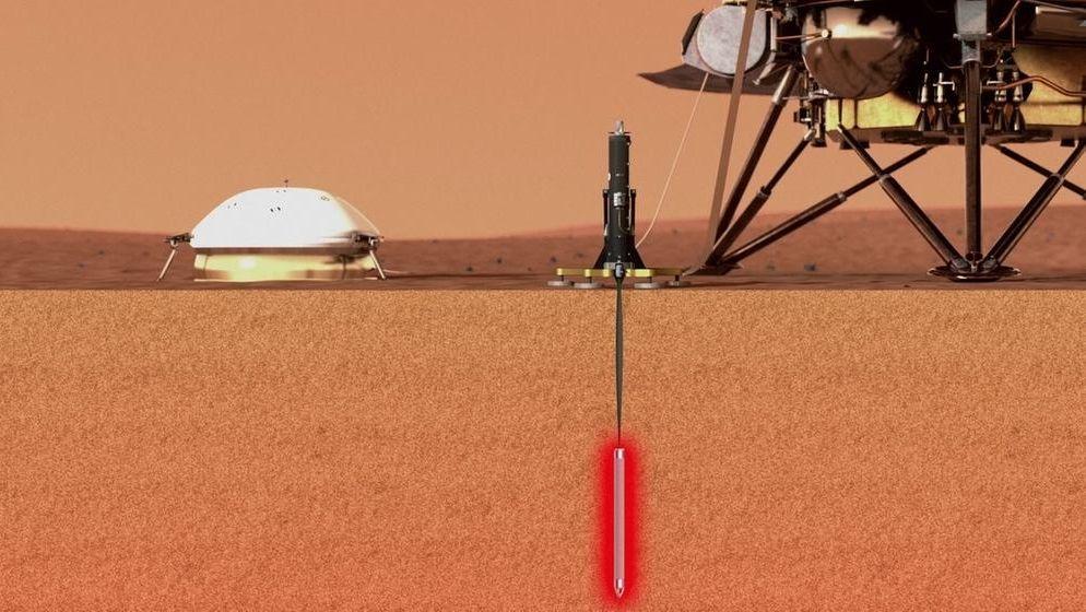 Mars-Lander InSight (künstlerische Darstellung): Der deutsche Marsmaulwurf HP3 bohrt den Planeten Mars an