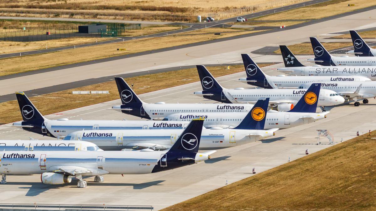 Abgestellte Lufthansa-Flugzeuge