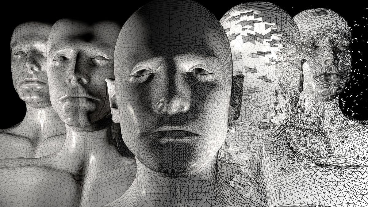 Schwarzweiß-Aufnahme von 5 künstlichen Menschen als Büsten, die alle verschieden gerastert sind.