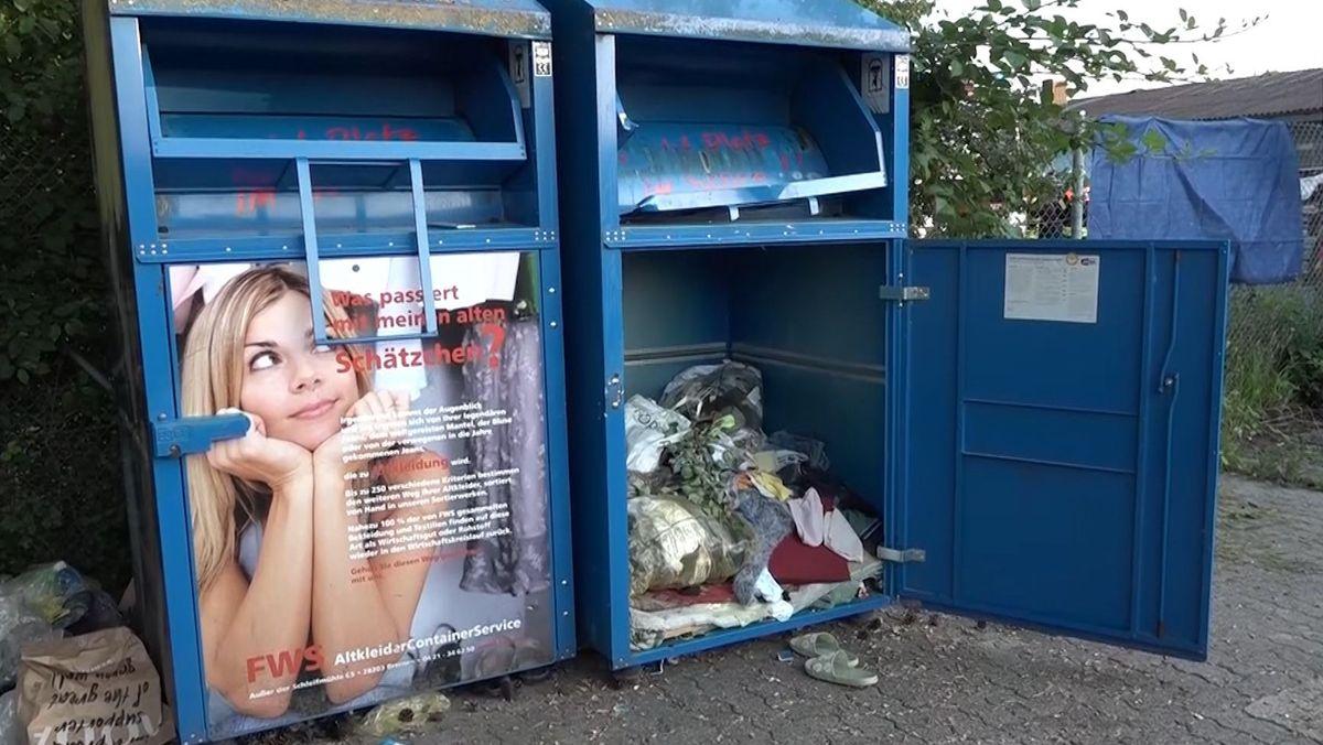 In diesem Altkleidercontainer ist eine junge Frau ums Leben gekommen