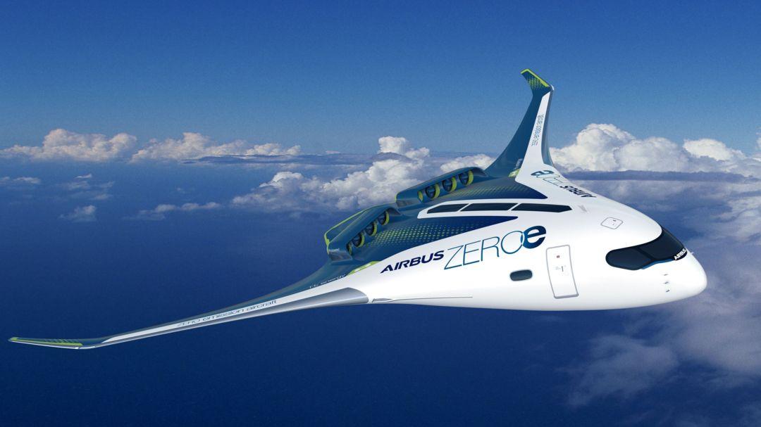 Eine Studie des Luftfahrtkonzerns Airbus für ein Flugzeug mit Wasserstoffantrieb für bis zu 200 Passagiere.