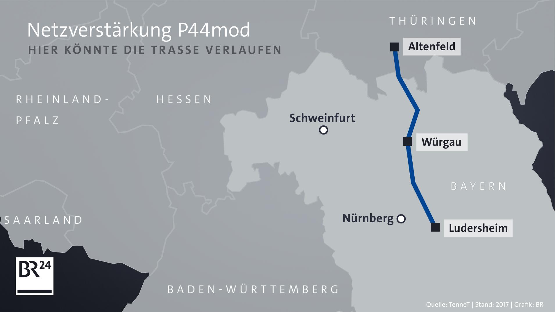 Karte: P44mod soll im Thüringischen Altenfeld starten, durch Oberfranken führen und dann in Ludersheim im Landkreis Nürnberger Land enden.