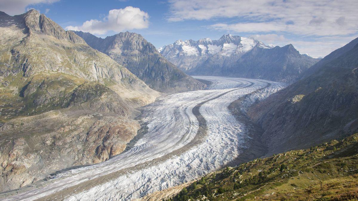 Der Große Aletschgletscher, größter Gletscher der Alpen
