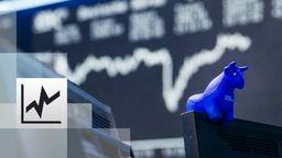 ein blauer Stier aus Gummi sitzt auf der oberen Kante eines Bildschirmes, im Hintergrund die Kurstafel der Börse | Bild:BR / Philipp Kimmelzwinger