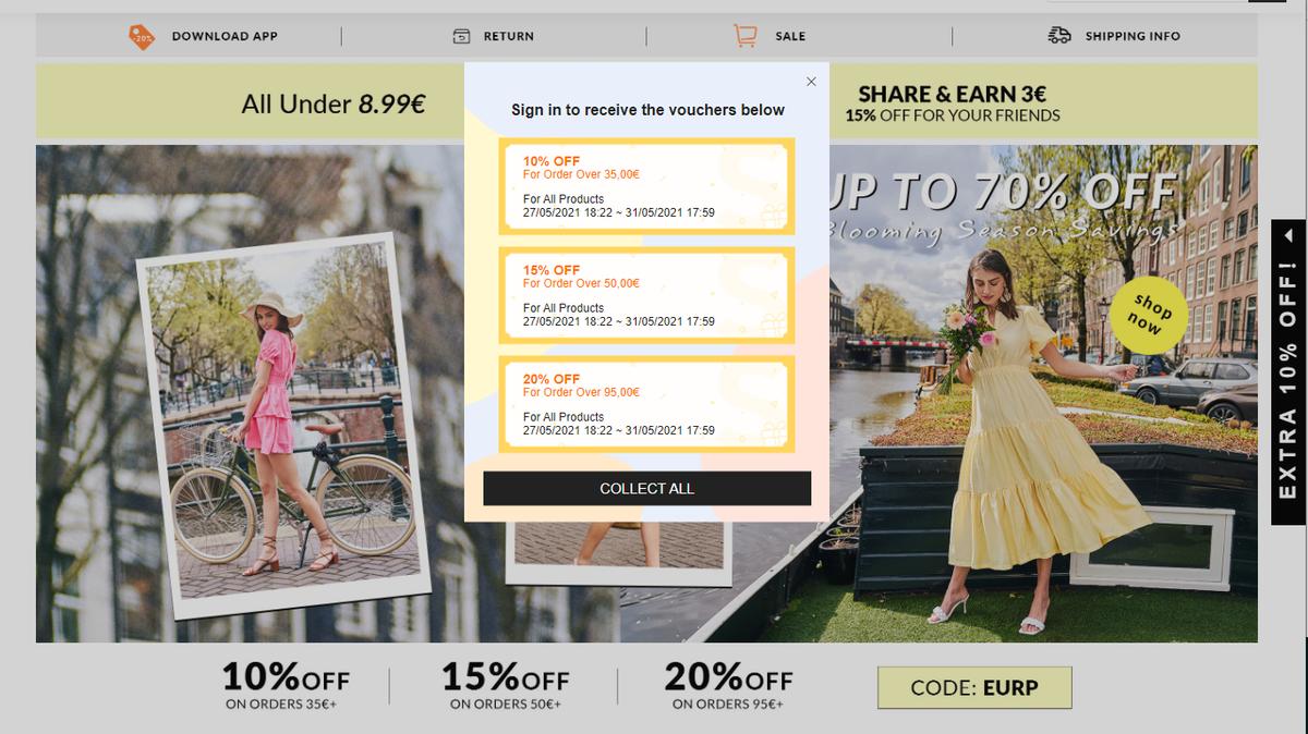 Die Shein-Startseite - der Fokus liegt auf aggressivem Marketing