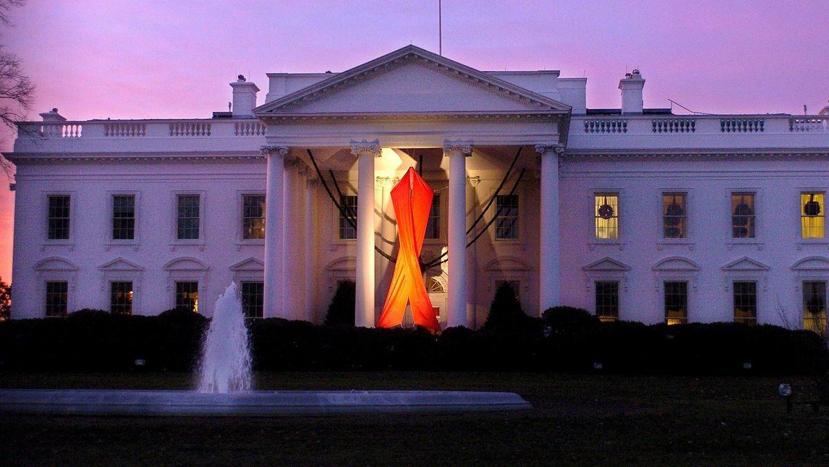 Solidaritäts-Zeichen am Portal des Präsidentensitzes in Washington D.C.