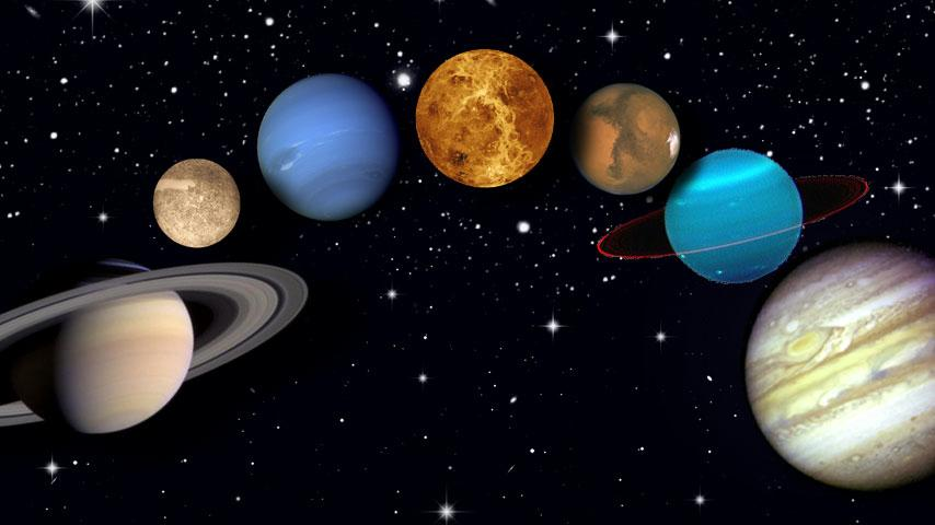 Collage der Planeten des Sonnensystems vor dem Sternenhimmel