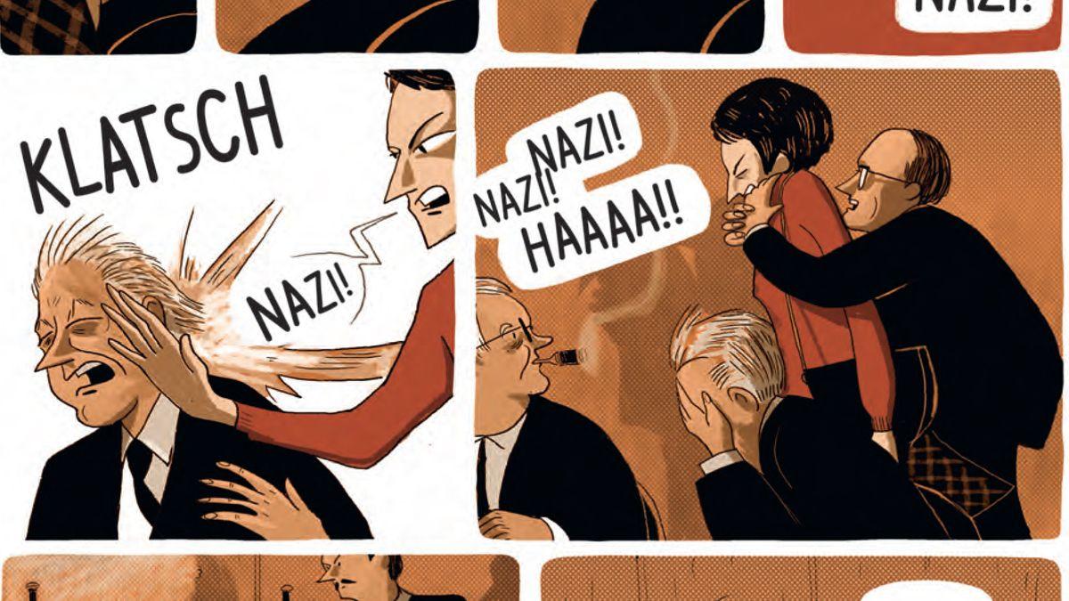 Ein Symbol: Der Nazi geohrfeigt von der jungen Frau