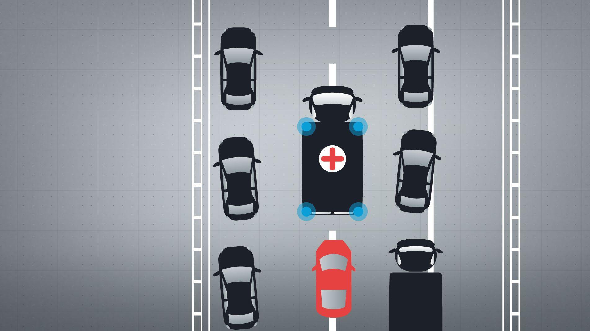 Grafik: Darstellung einer Rettungsgasse