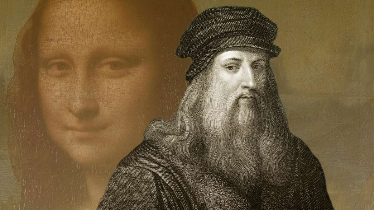 Leonardo da Vinci - im Hintergrund die Mona Lisa