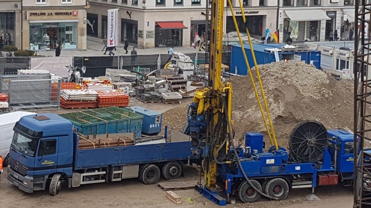 Baustelle am Münchner Marienhof im März 2019: Probebohrungen für die 2. Stammstrecke.