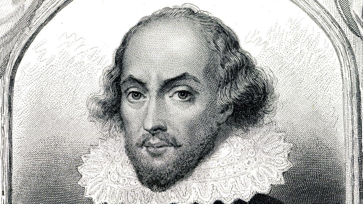 William Shakespeare (1564-1616), Ausschnitt aus einem Stich aus dem 19. Jahrhundert,