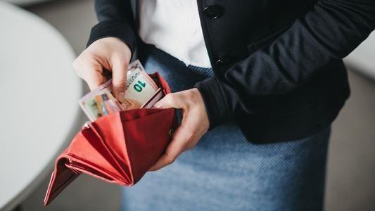 Geldbörse geöffnet mit Scheinen